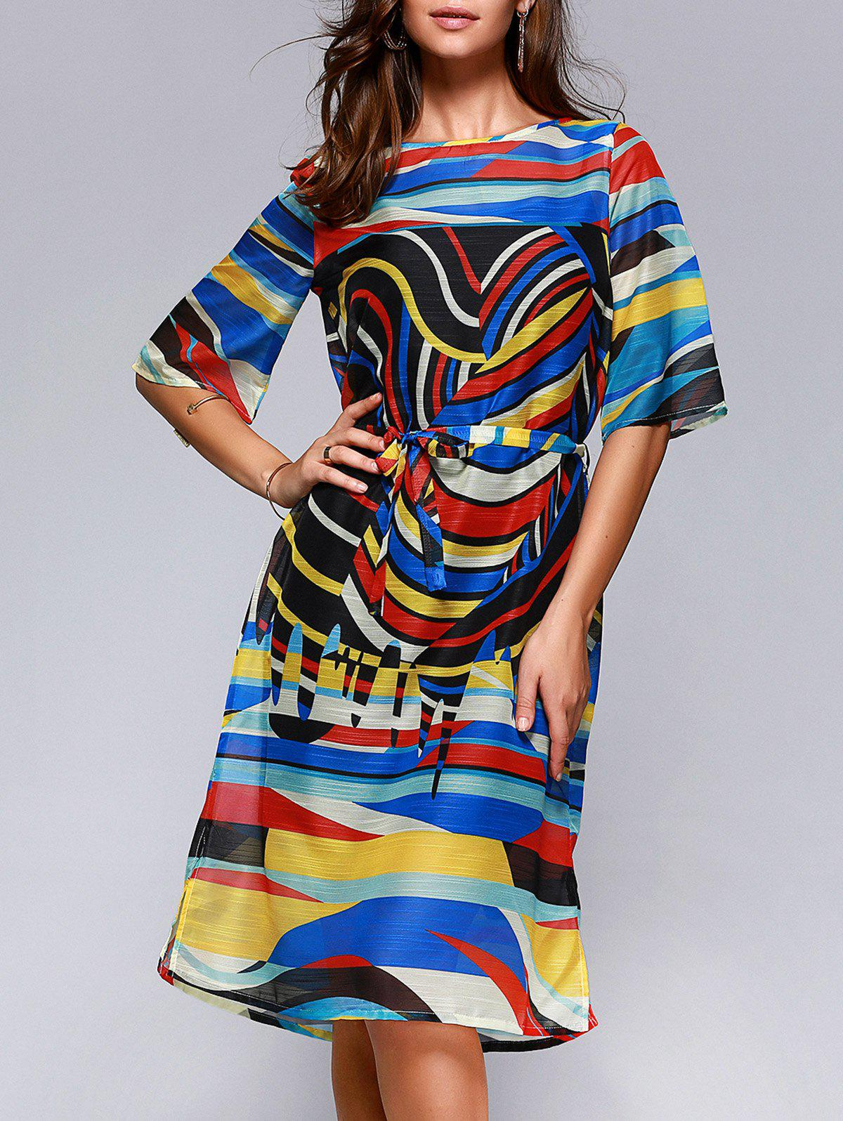 Brief Women's Hit Color Printed Loose Dress - COLORFUL L