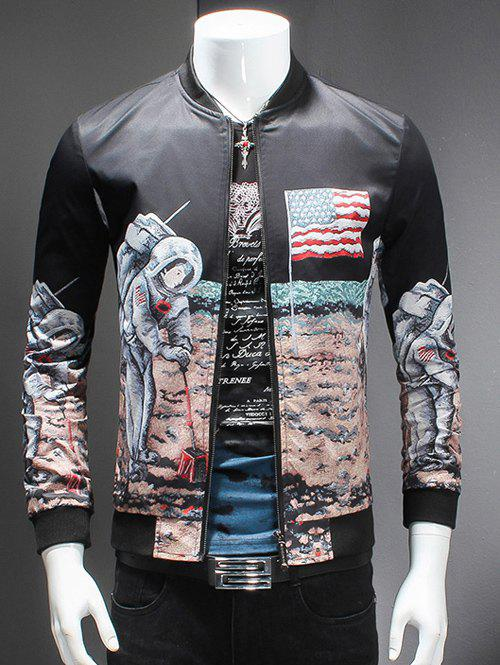 Novelty Moon Landing Print Stand Collar Long Sleeves Jacket
