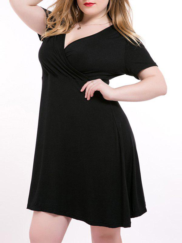 High Waist Plus Size Surplice Dress - BLACK 7XL