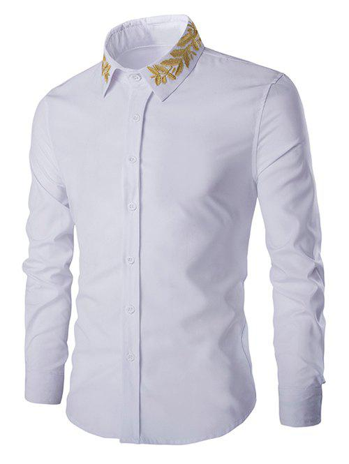 Turn-Down Collar Olive Branch Embroidery Long Sleeve Men's Shirt - WHITE 2XL