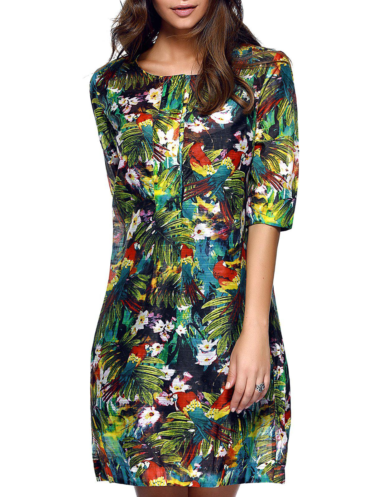 Stylish Women's Half Sleeves Tropical Print Loose Dress - GREEN 2XL