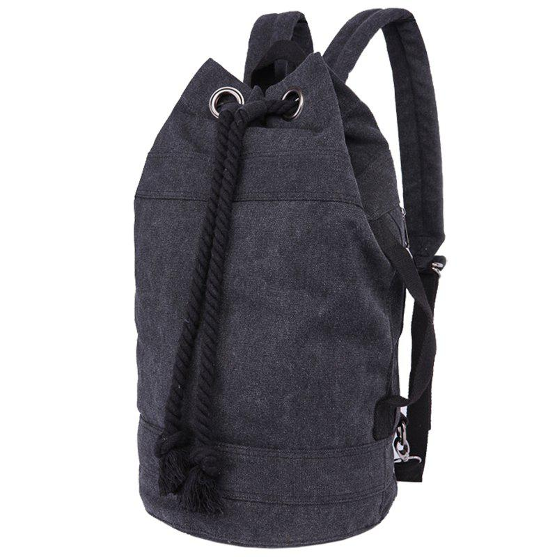 Concise Canvas and Drawstring Design Men's Backpack - BLACK