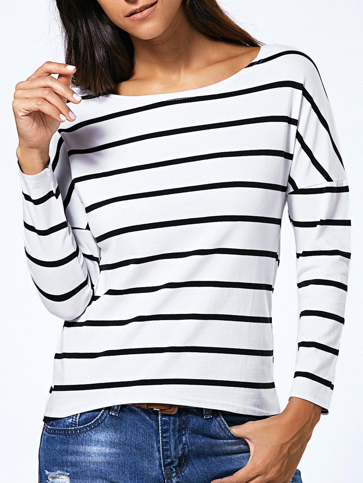 Long Sleeve Striped Jewel Neck T-Shirt - WHITE XL