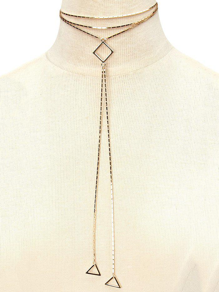 Alloy Geometric Pendant Necklace - GOLDEN