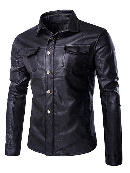 Single Breasted Turn-Down Collar Long Sleeve Men's PU-Leather Jacket
