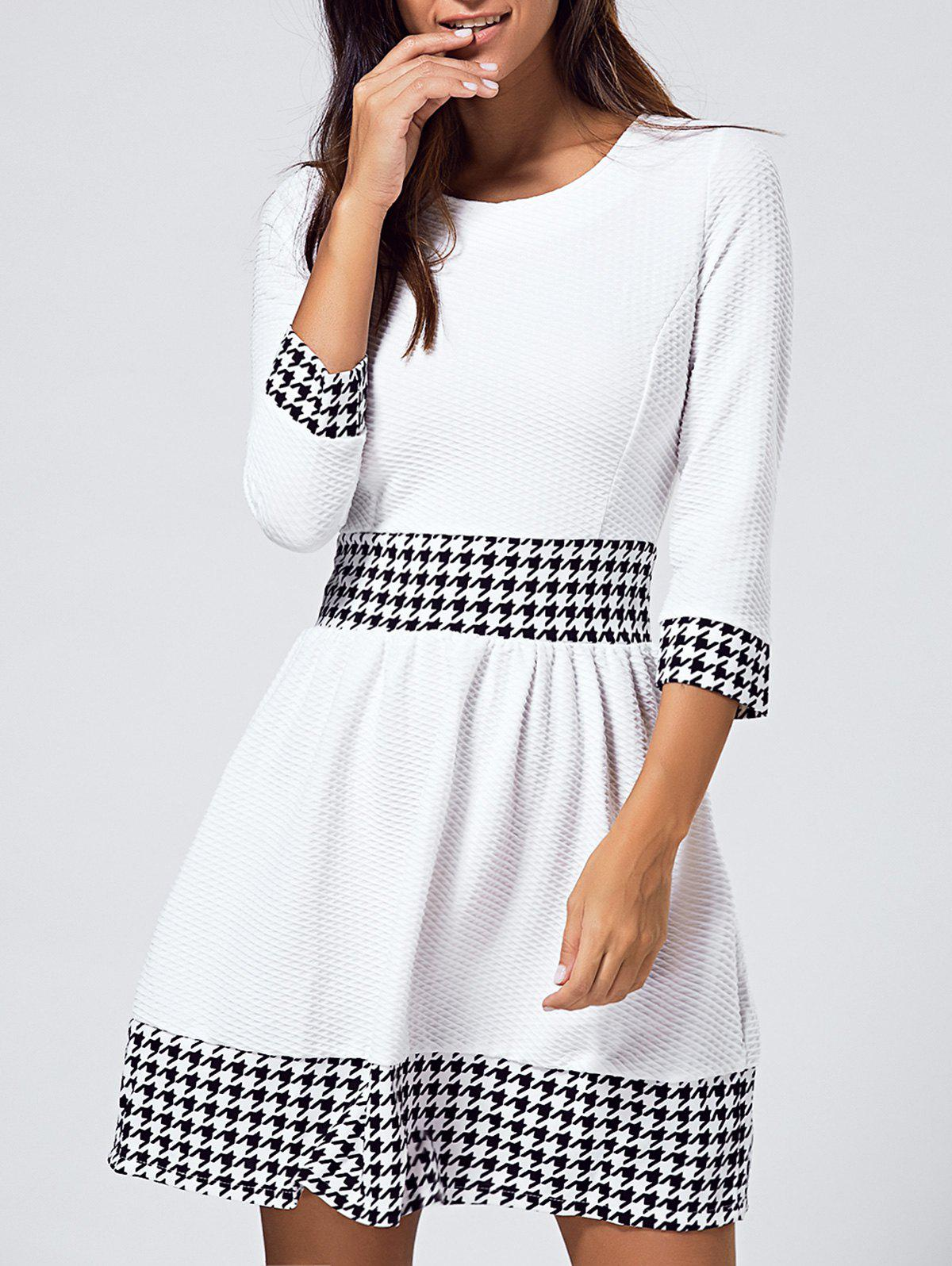 3/4 Sleeve Houndstooth Jewel Neck Dress - WHITE XL