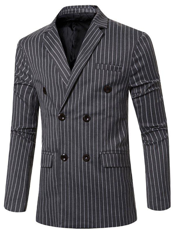 цены Classic Striped Notched Lapel Collar Long Sleeves Blazer For Men