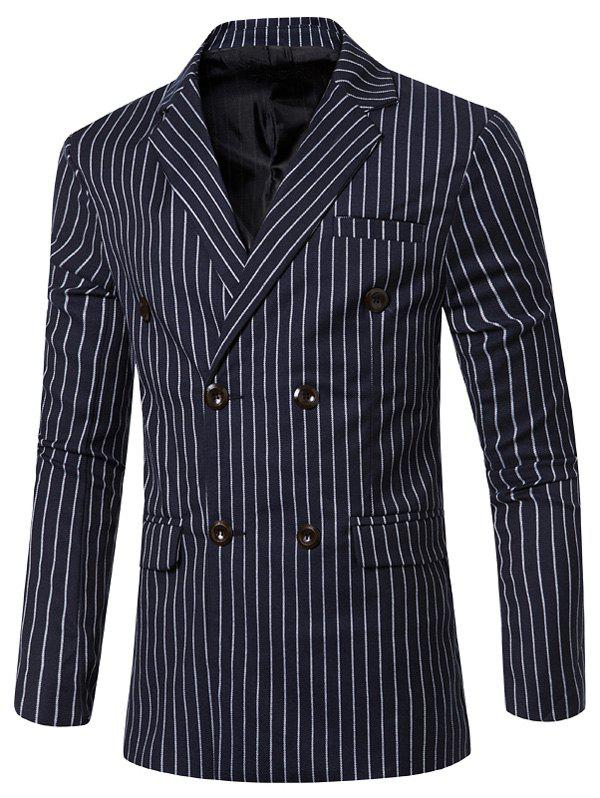 Classic Striped Notched Lapel Collar Long Sleeves Blazer For Men - BLUE 3XL