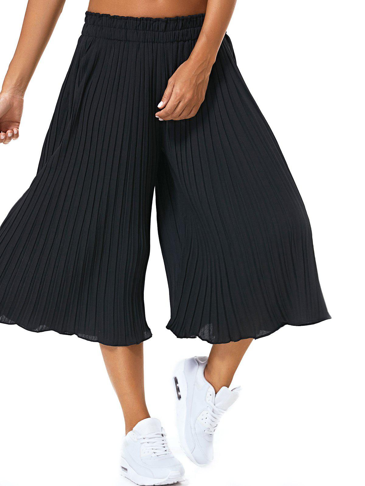 Pure Color Pleated High Wide Leg Pants - BLACK XL