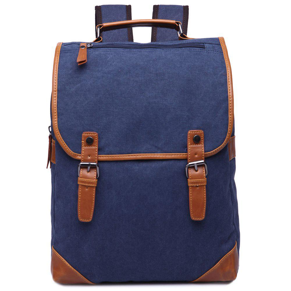 Trendy Color Block et Double Buckle design Men  's Sac à dos - Bleu Foncé