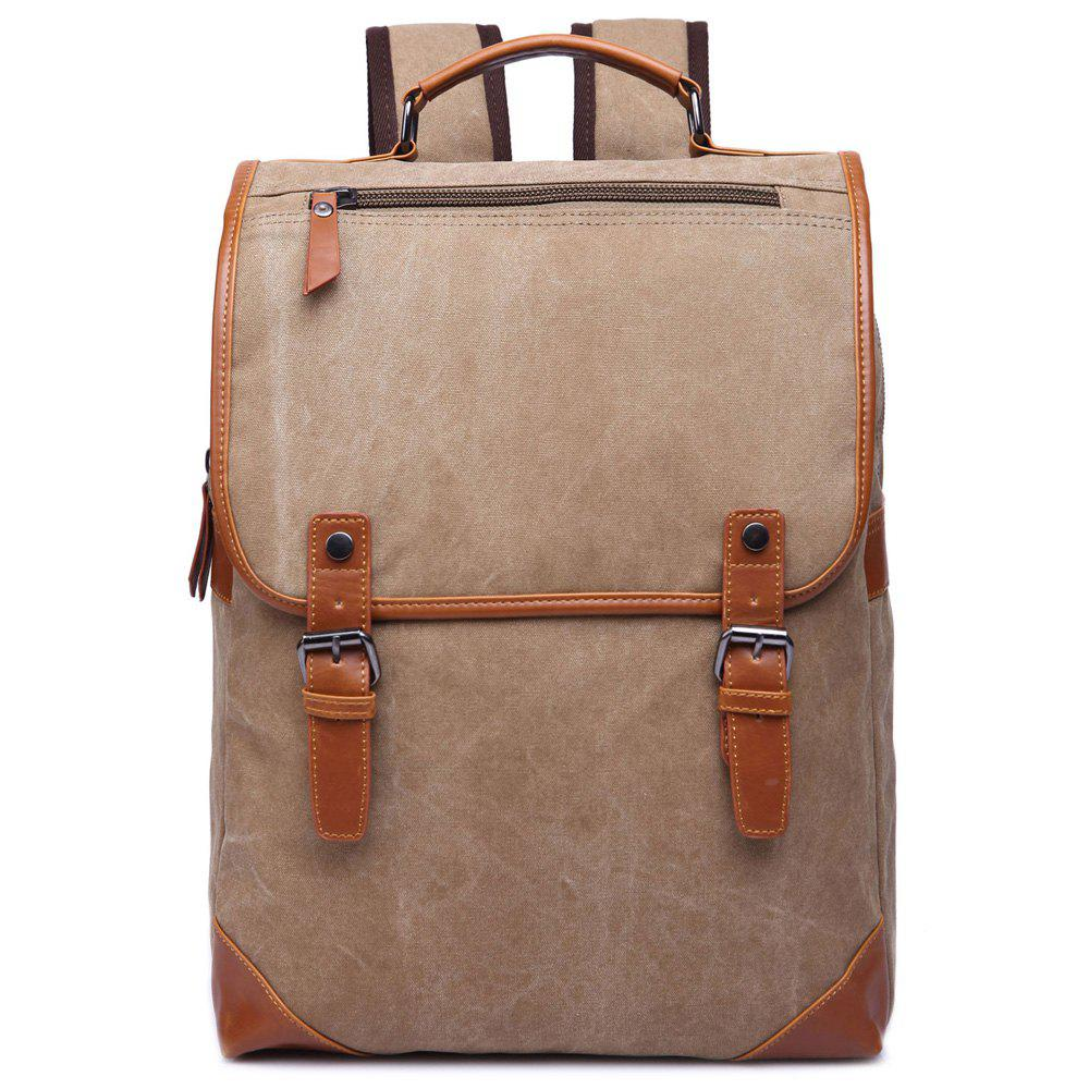 Trendy Color Block and Double Buckle Design Men's Backpack - KHAKI