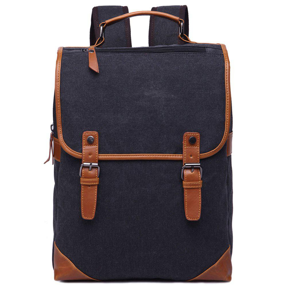 Trendy Color Block and Double Buckle Design Men's Backpack - BLACK
