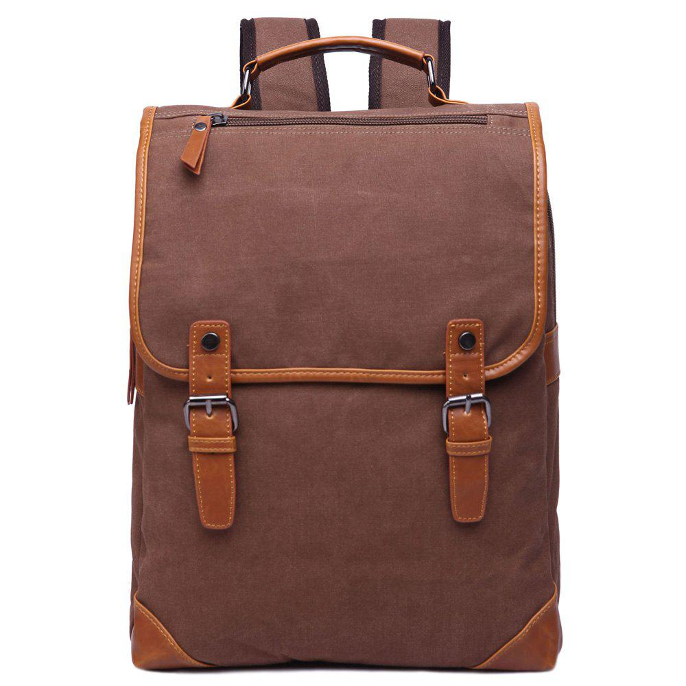Trendy Color Block and Double Buckle Design Men's Backpack - COFFEE