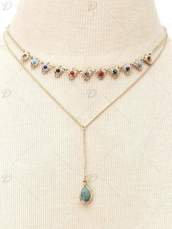Faux Gem Layered Necklace - GOLDEN