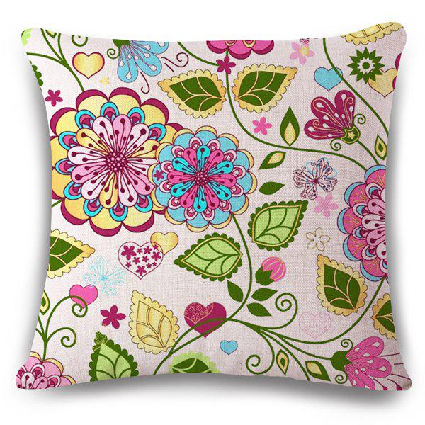 High Quality Flax Flower and Heart Pattern Sofa Pillow Case - COLORFUL