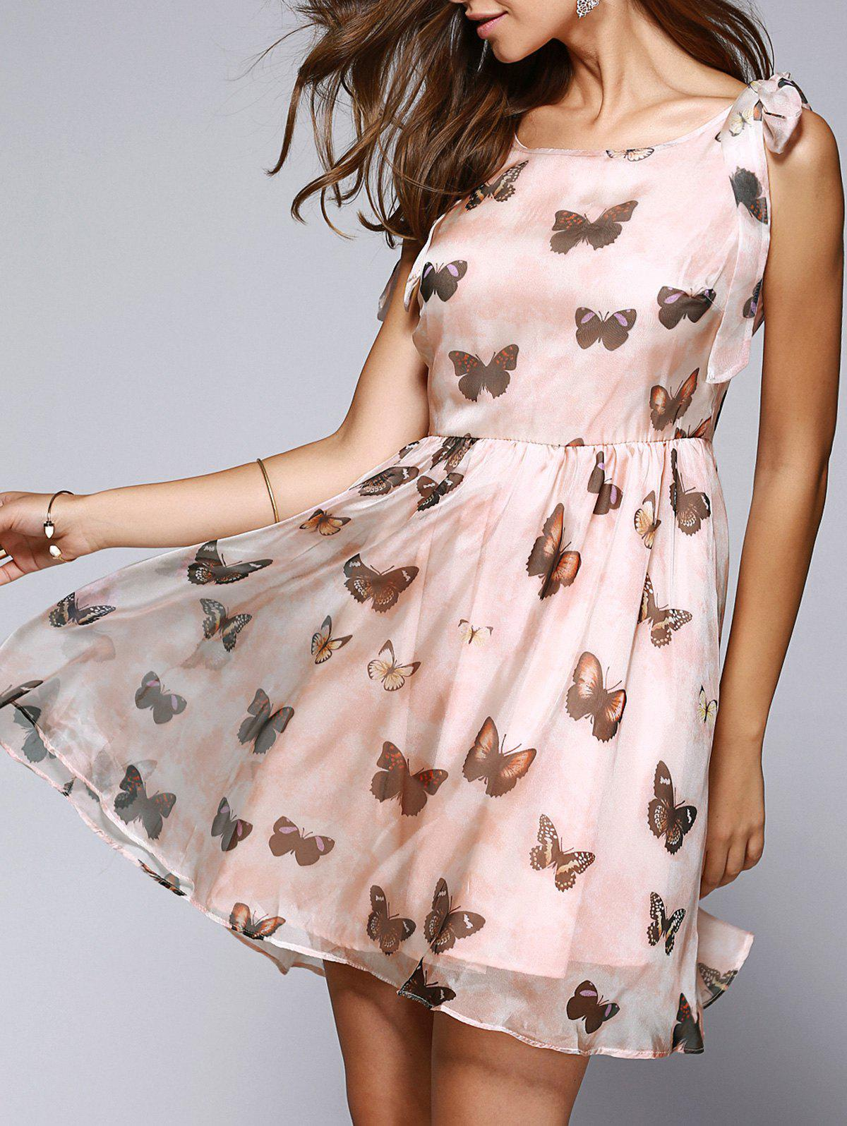 Butterfly Print Bowtie Sleeveless Skater Dress