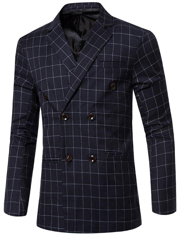 Classic Double Breasted Notched Lapel Collar Checked Blazer For MenMen<br><br><br>Size: M<br>Color: BLUE