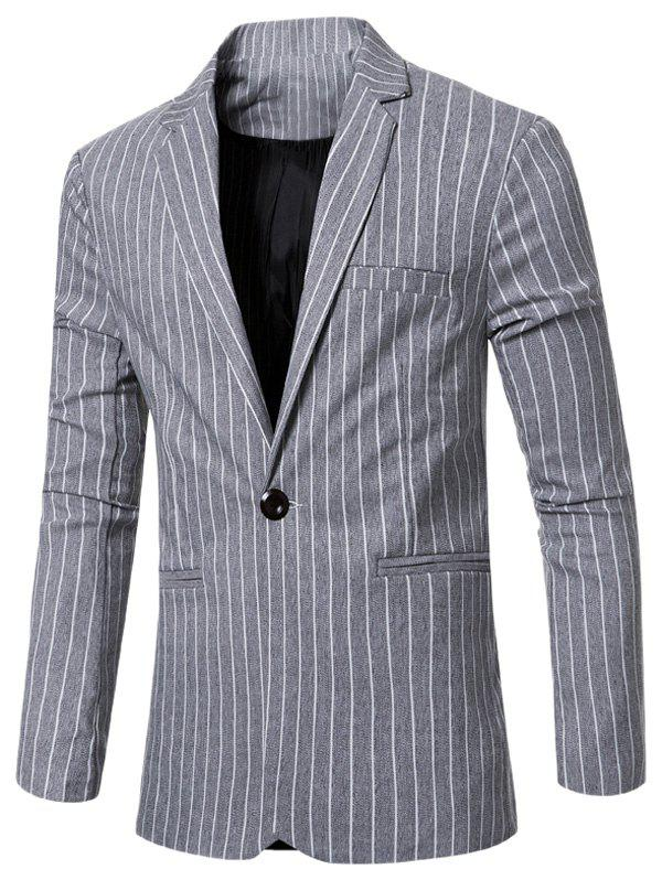 Notched Lapel Collar Single Button Striped Slim Fit Blazer For Men - LIGHT GRAY 3XL