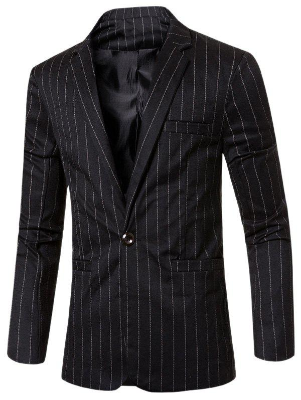 Notched Lapel Collar Stylish Single Button Striped Slim Fit Blazer For Men - BLACK 3XL