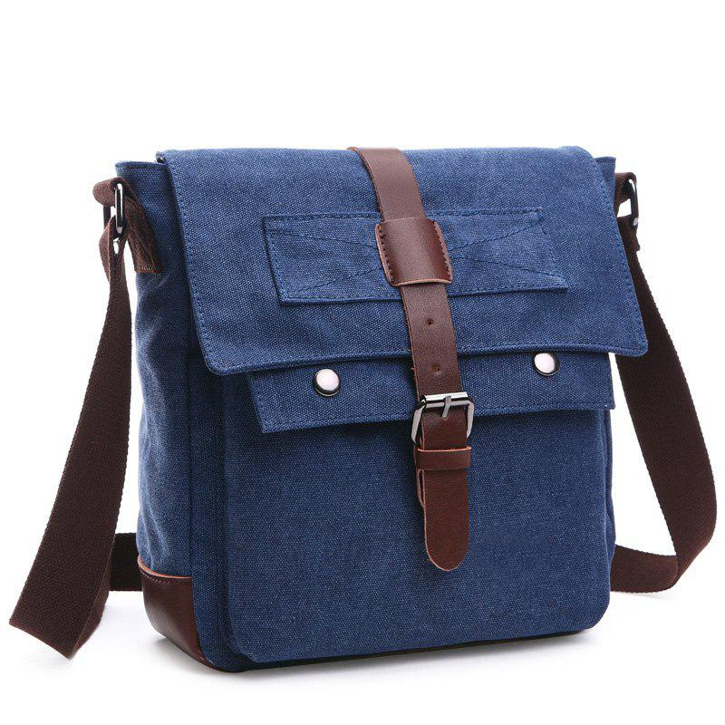 Casual Color Block and Buckle Design Men's Messenger Bag - DEEP BLUE