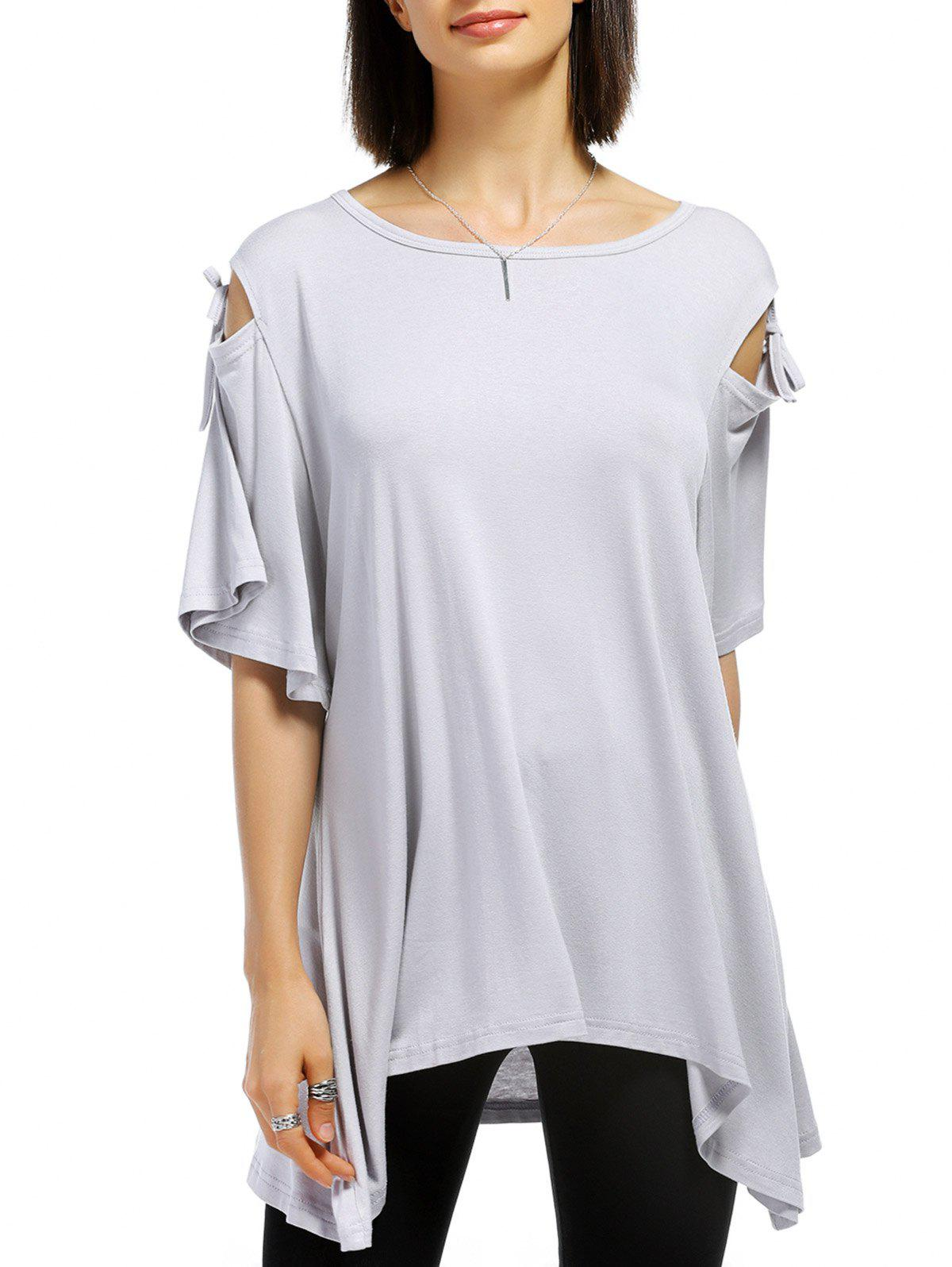 Casual Shoulder Cut Out Tied Solid Color Pullover T-Shirt For Women - LIGHT GRAY XL