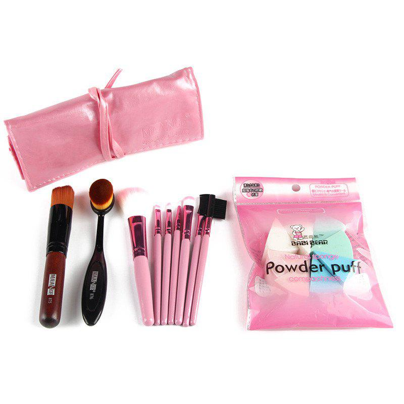 Professional 7 Pcs Nylon Makeup Brushes Set with Brush Bag + 2 Pcs Foundation Brush + Powder Puffs - PINK