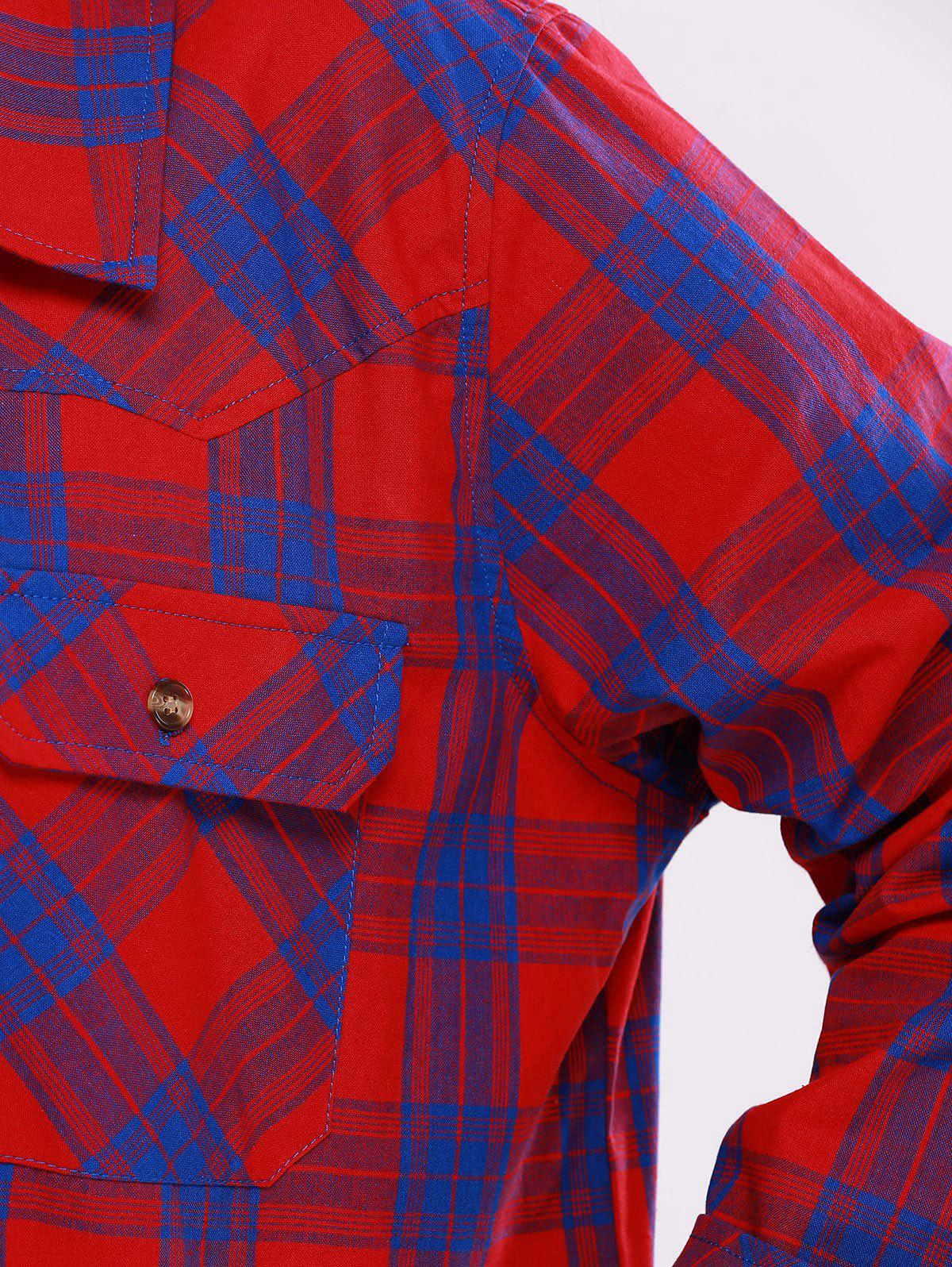 Plus Size Flap Pockets Plaid Shirt - BLUE/RED 5XL