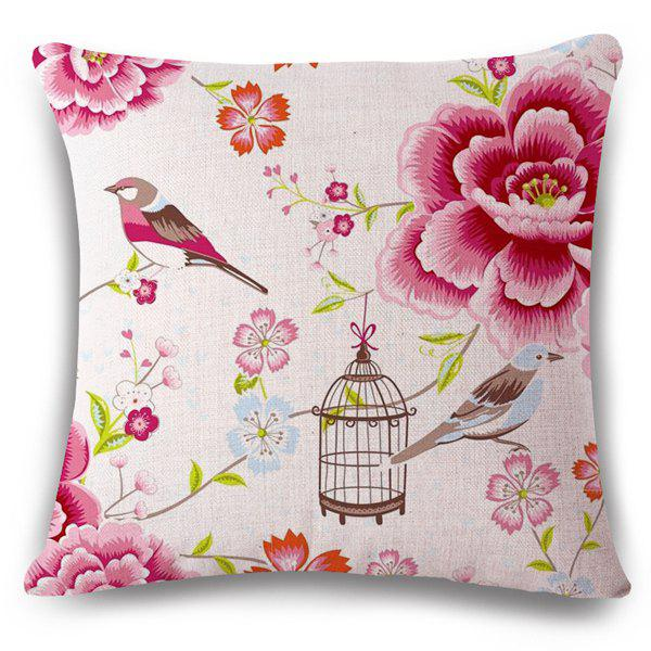 Fashionable Flax Spring Bird and Flower Pattern Sofa Pillow Case - PINK