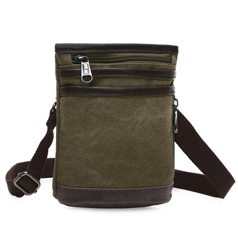 Casual Splicing and Zipper Design Men's Messenger Bag - ARMY GREEN