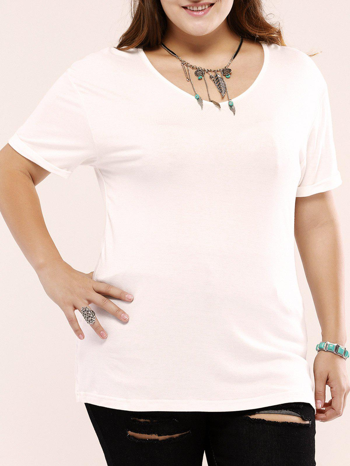 Plus Size Casual Pure Color long T-shirt - Blanc 5XL