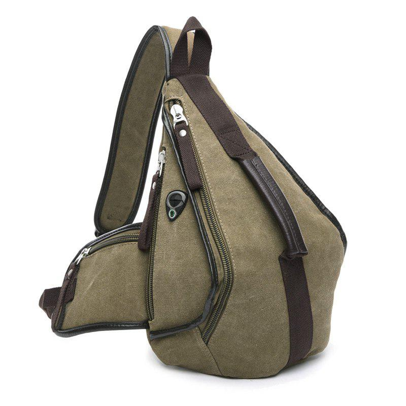 Trendy Zippers and Color Splicing Design Men's Messenger Bag - KHAKI
