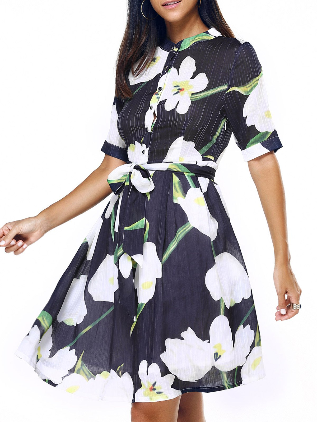 Graceful Women's Stand-Up Collar Floral Print Chiffon Dress - BLACK XL