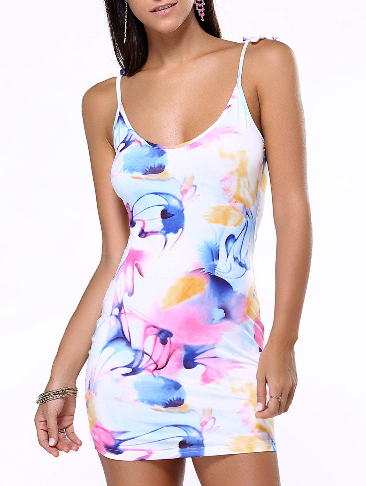 Tie-Dye Bodycon Mini Cami Dress - WHITE XL