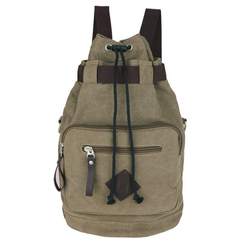 Concise Drawstring and Zippers Design Men's Backpack - KHAKI