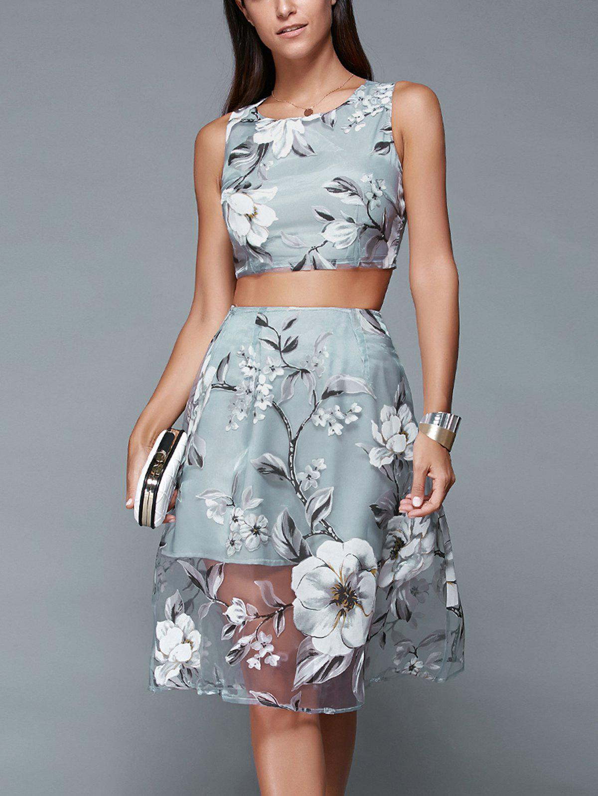 Floral Print Crop Top et Mesh Spliced ​​Jupe Twinset - Bleu gris XL