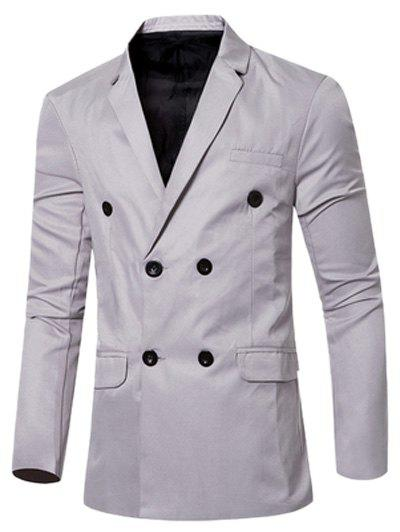 Flap-Pocket Design Casual Lapel Collar Double Breasted Blazer For Men - GRAY 2XL