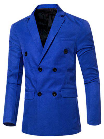 Flap-Pocket Design Casual Lapel Collar Double Breasted Blazer For Men - SAPPHIRE BLUE M