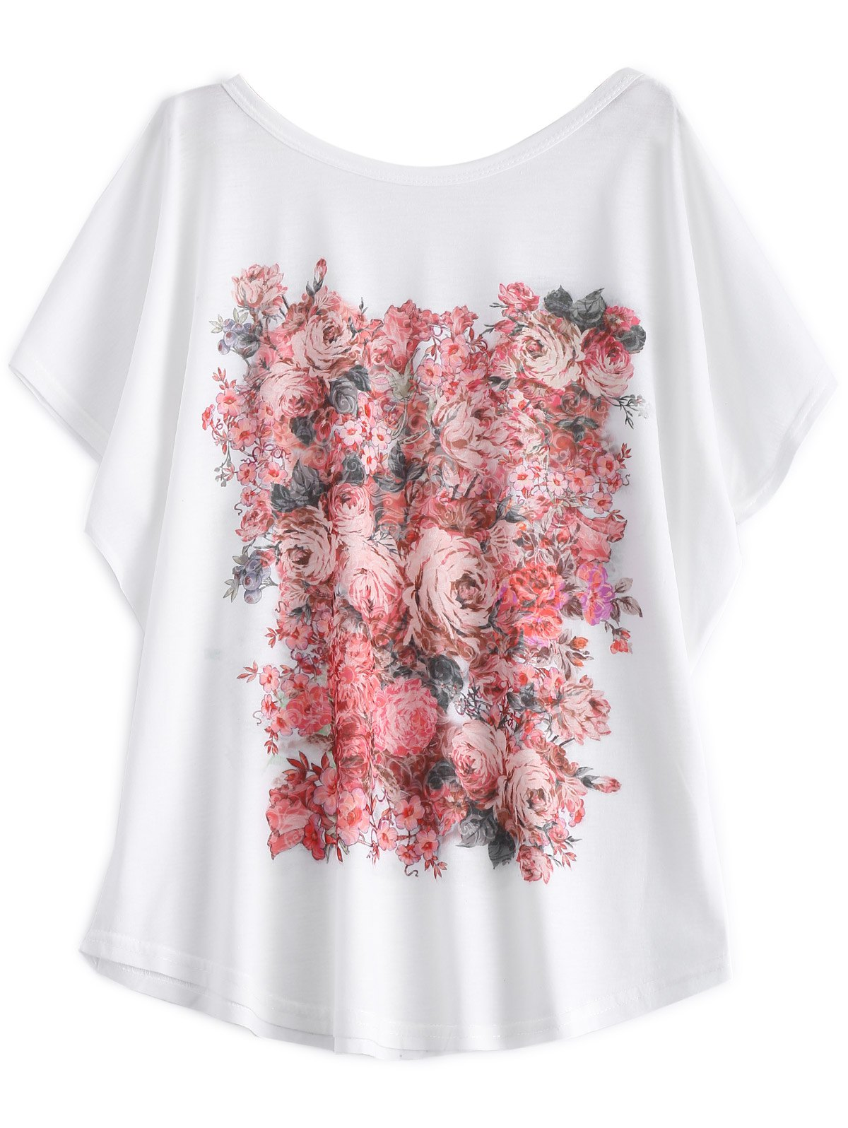 Batwing Sleeve Floral Print White T-Shirt - WHITE 2XL