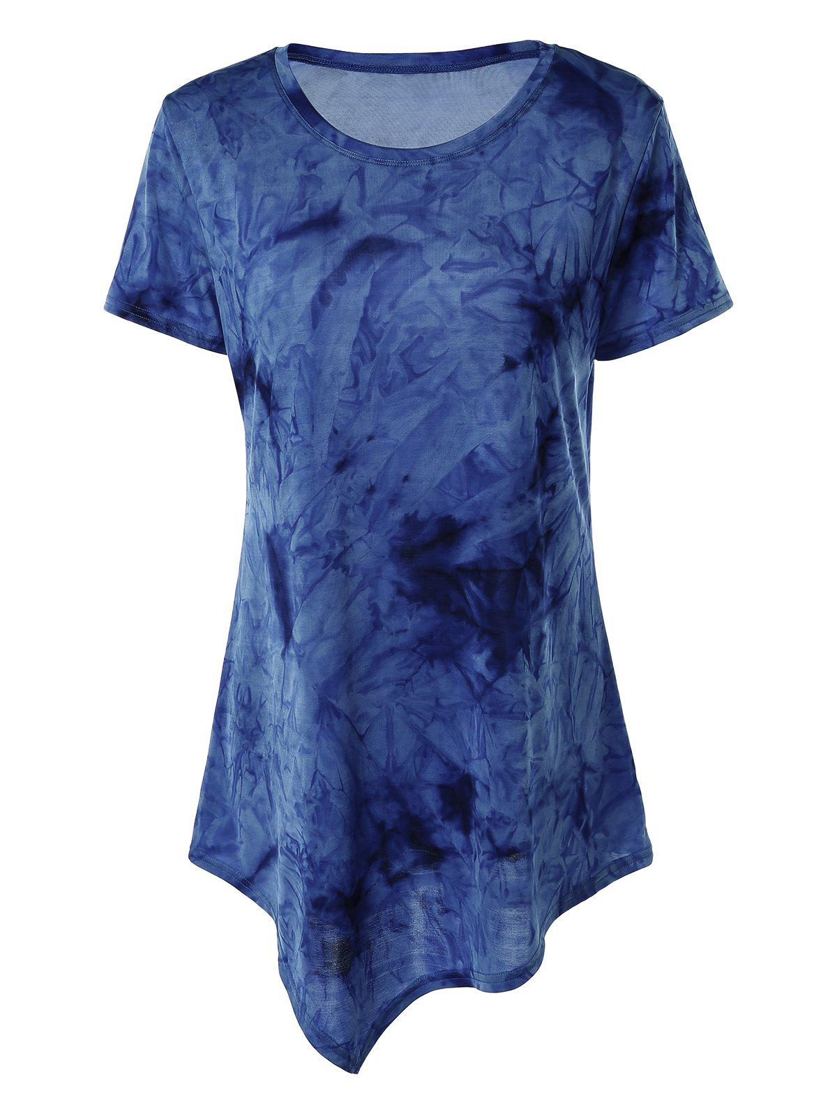 Asymmetrical Long Tie Dye T-Shirt - BLUE XL