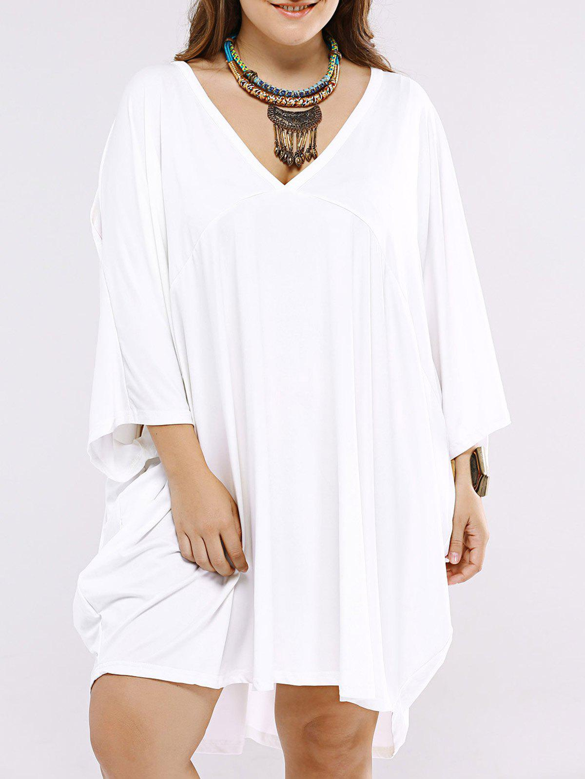 Oversized Casual Pure Color Dress with Batwing Sleeves - WHITE 2XL