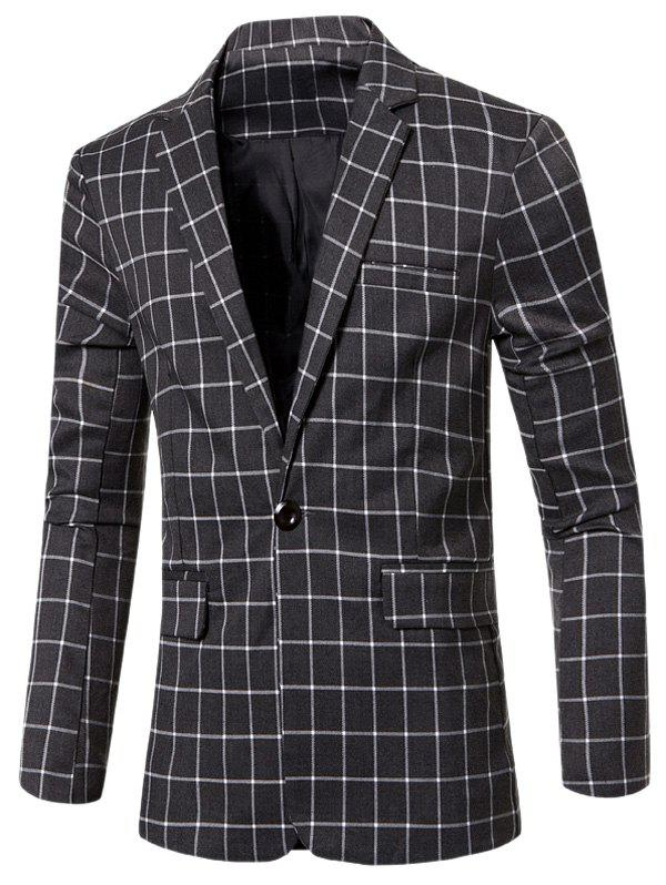 Single Button Opening Casual Notched Lapel Collar Checked Blazer For Men