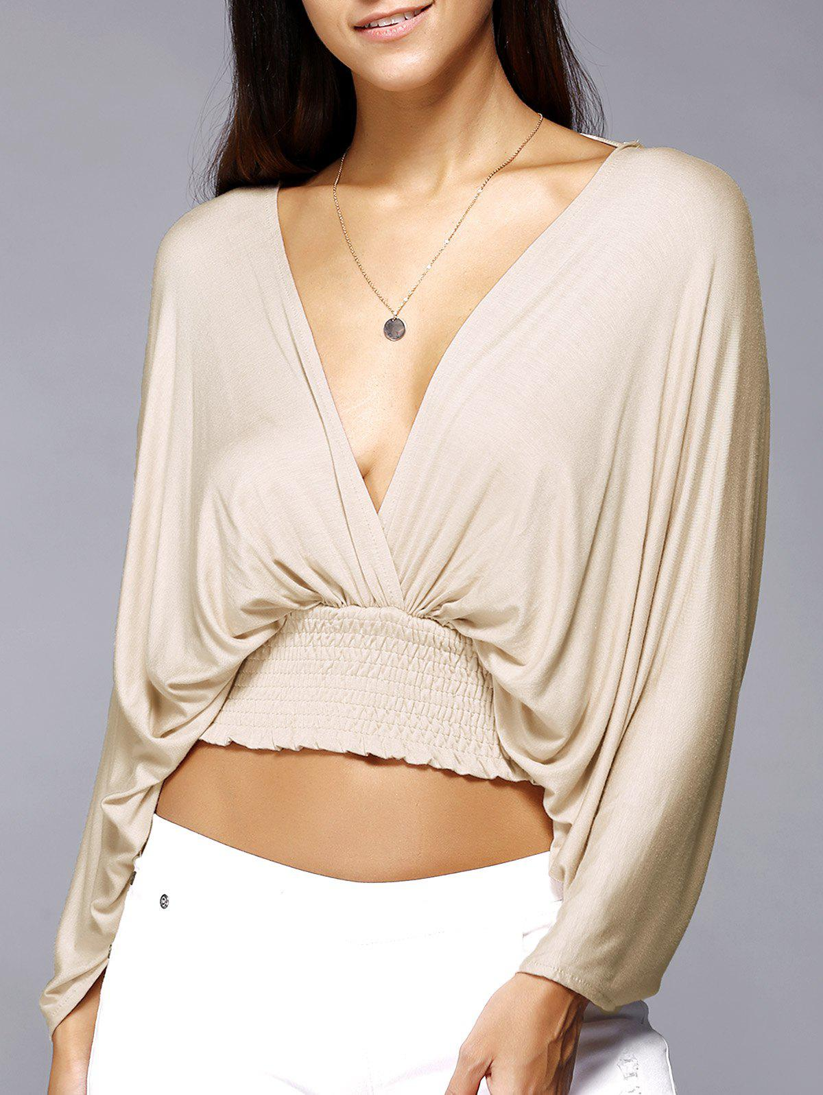 Plunge Neck Backless Dolman Sleeve Stretched Waist Cropped Blouse - BEIGE XL