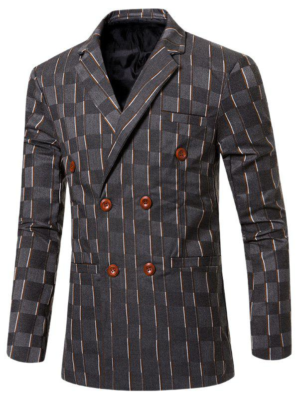 New Look Striped Notched Lapel Collar Double Breasted Blazer For Men - GRAY 3XL