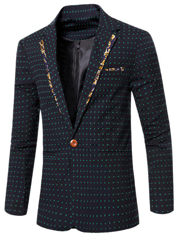 Stylish Spliced Lapel Collar Single Button Dot Embroidered Blazer For Men - DEEP GREEN 3XL