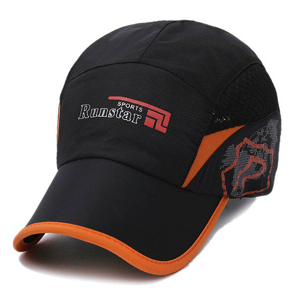 Stylish Outdoor Breathable Quick Dry Sunscreen Baseball Hat - BLACK