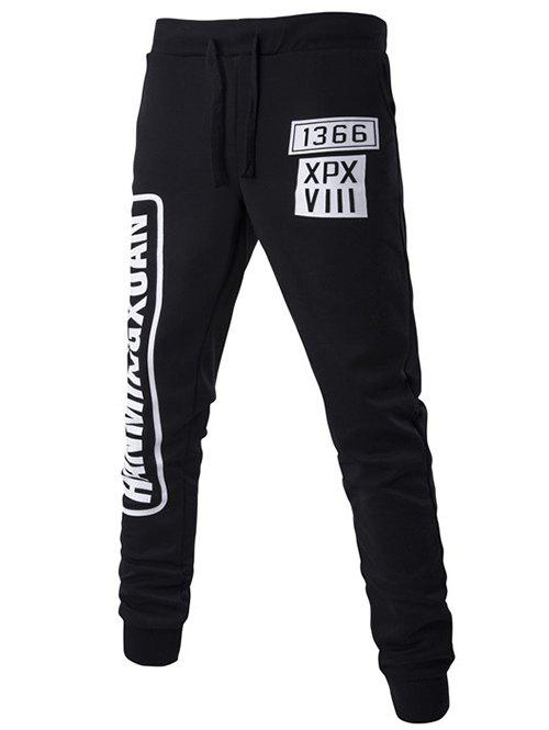 Letters Pattern Lace-Up Beam Feet Pants - BLACK M