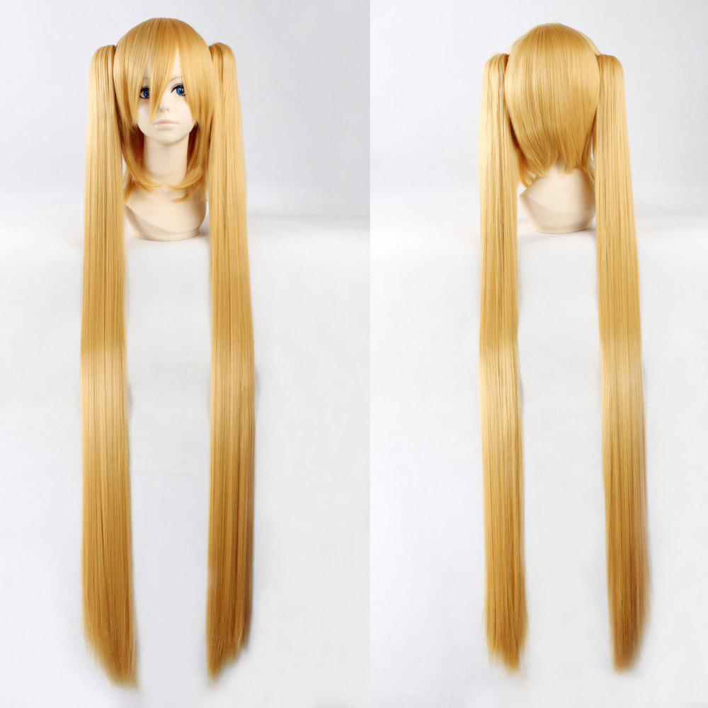 Fashion Synthetic Straight Long with Bunches Golden Hatsune Miku Cosplay Wig new arrival vocaloid hatsune miku snow miku cosplay wig long straight synthetic hair wig with double ponytails
