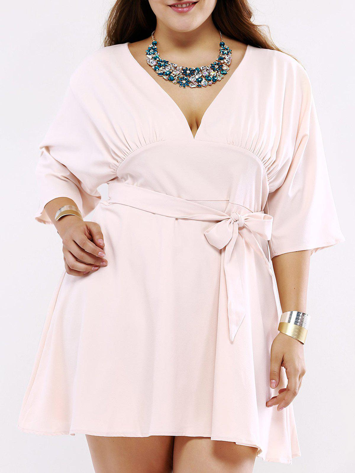 Plus Size Chic Tie Front Ruched Dress - SHALLOW PINK 5XL