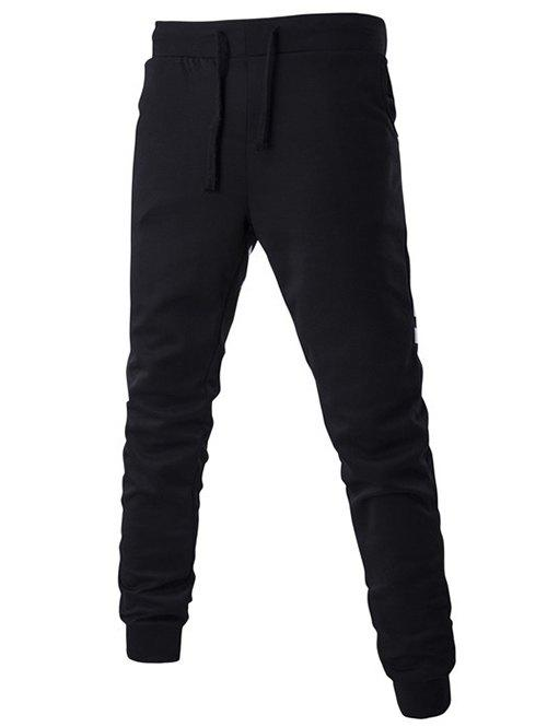 Back Stripes and Letters Pattern Lace-Up Beam Feet Pants - BLACK M