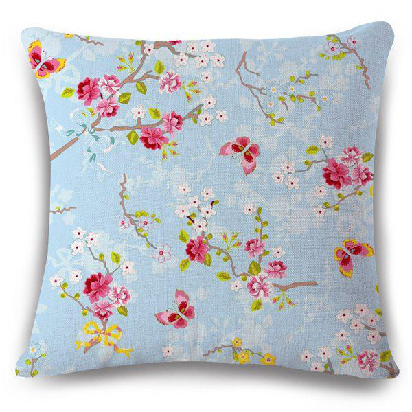 Simple Flax Flowerlet Butterfly Spring Scenery Pattern Sofa Pillow Case